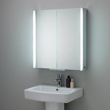 HIB Xenon 80 LED Illuminated Mirror Cabinet With Mirrored Sides