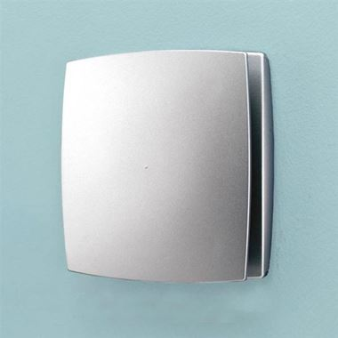 HIB Breeze Matt Silver Wall or Ceiling Mounted Slimline Low Profile Fan with Timer & Humidity Sensor
