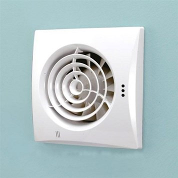 HIB Hush White Wall or Ceiling Mounted Slimline Lowprofile Fan with Timer