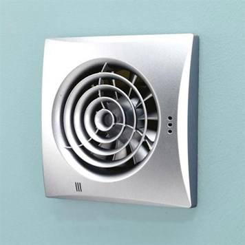 HIB Hush Matt Silver Wall or Ceiling Mounted Slimline Lowprofile Fan with Timer & Humidity Sensor