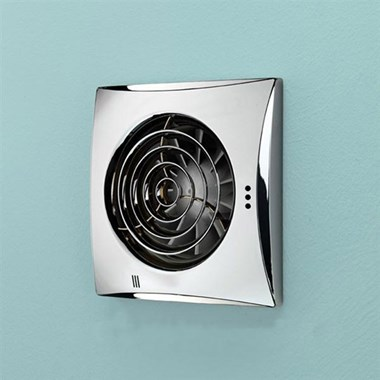 HIB Hush Chrome Wall or Ceiling Mounted Slimline Lowprofile Fan with Timer