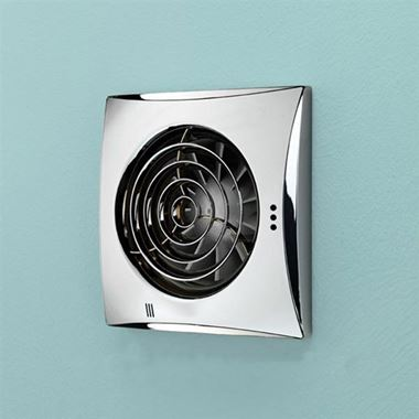 HIB Hush Chrome Wall or Ceiling Mounted Slimline Lowprofile Fan with Timer & Humidity Sensor