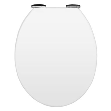 Vellamo Soft-Close White MDF Wood Toilet Seat - White Gloss