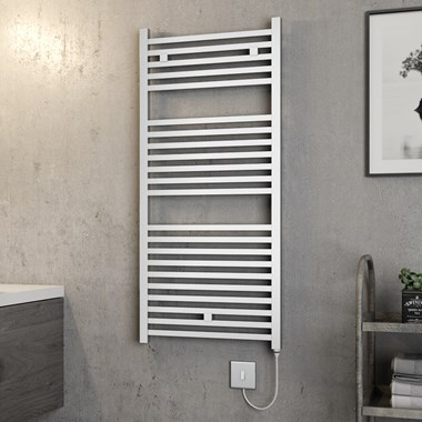 Brenton Helios Electric Straight Square Chrome Heated Towel Rail - 1110 x 500mm