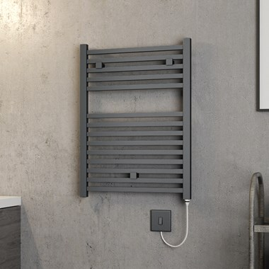 Brenton Helios Electric Straight Square Anthracite Heated Towel Rail - 690 x 500mm