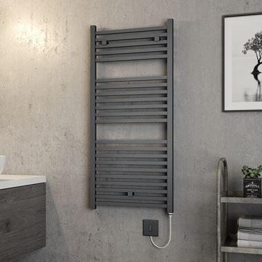 Brenton Helios Electric Straight Square Anthracite Heated Towel Rail - 1110 x 500mm