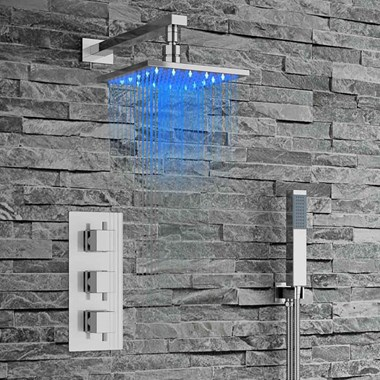 Holm Square Concealed Shower Valve with Fixed LED Shower Head & Handset