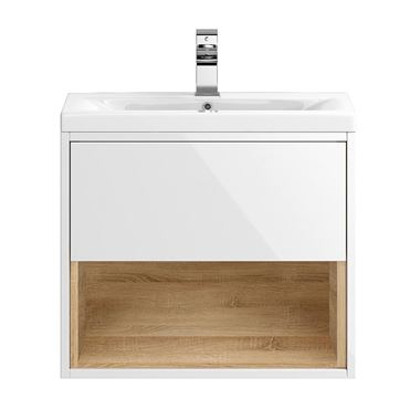 Hudson Reed Coast 600mm Wall Hung Vanity Unit and Basin - White Gloss