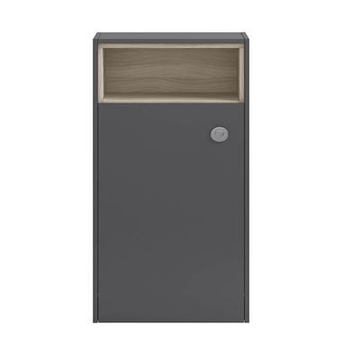 Hudson Reed Coast 600mm Back to Wall Toilet Unit With Open Shelf - Grey Gloss