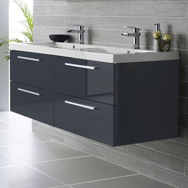 Hudson Reed Quartet 1440mm Wall Mounted Double Basin Vanity Unit - Gloss Grey