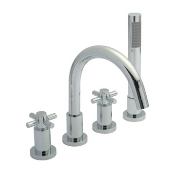 Hudson Reed Tec Crosshead 4 Hole Deck Mounted Bath Shower Mixer with Pull Out Handset
