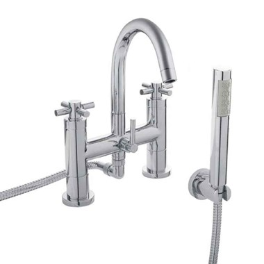 Hudson Reed Tec Crosshead Deck Mounted Bath Shower Mixer with Handser Kit