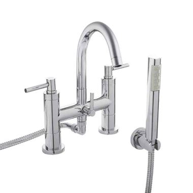 Hudson Reed Tec Lever Deck Mounted Bath Shower Mixer with Handset Kit
