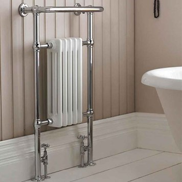 Premier Small Harrow Traditional Towel Rail - White & Chrome - 965 x 540mm