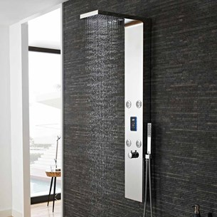 Hudson Reed Genie Chrome LED Thermostatic Shower Tower with 4 Round Bodyjets