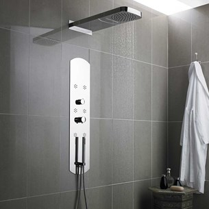Hudson Reed Interval Chrome Fully Recessed Thermostatic Shower Tower & Head with 6 Round Bodyjets