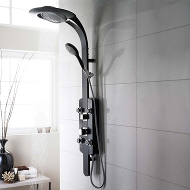 Hudson Reed Prophecy Black Chrome Thermostatic Shower Tower with 4 Round Bodyjets & Multi-Function Handset