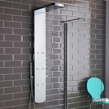 Hudson Reed Shimmer Chrome Thermostatic Shower Tower with 6 Inset Bodyjets