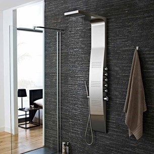 Hudson Reed Surface Stainless Steel Thermostatic Shower Tower with 3 Inset Bodyjets
