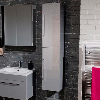 Aspire Tall 2 Door Wall Mounted Bathroom Storage Unit - Gloss Grey