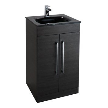 Aspire 500mm Floorstanding Two Door Black Ash Vanity Unit with Black Glass Basin