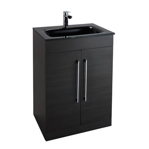 Aspire 600mm Floorstanding Two Door Black Ash Vanity Unit with Black Glass Basin