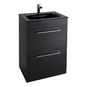Aspire 600mm Floorstanding Two Drawer Black Ash Vanity Unit with Black Glass Basin