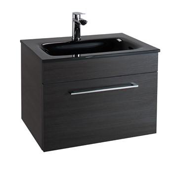Aspire 600mm Wall Hung Black Ash Vanity Unit with Black Glass Basin