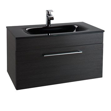 Aspire 800mm Wall Hung Black Ash Vanity Unit with Black Glass Basin