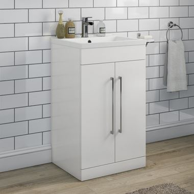 Aspire 500mm Floorstanding 2 Door Vanity Unit & Basin - Gloss White