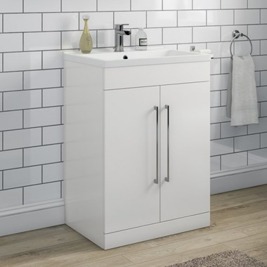 Aspire 600mm Floorstanding 2 Door Vanity Unit & Basin - Gloss White