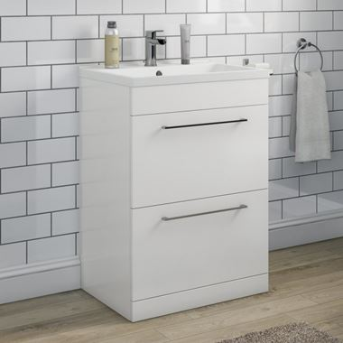 Aspire 600mm Floorstanding 2 Drawer Vanity Unit & Basin - Gloss White