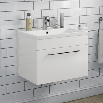 Aspire 600mm Wall Mounted 1 Drawer Vanity Unit & Basin - Gloss White