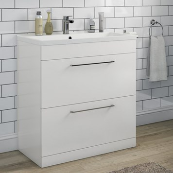 Aspire 800mm Floorstanding 2 Drawer Vanity Unit & Basin - Gloss White