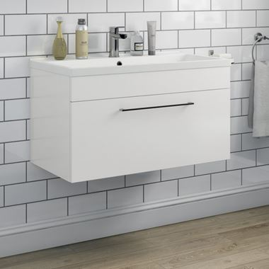 Aspire 800mm Wall Mounted 1 Drawer Vanity Unit & Basin - Gloss White