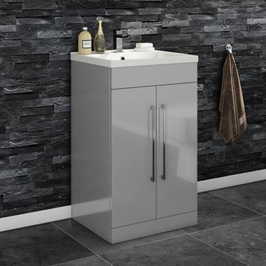 Aspire 500mm Floorstanding 2 Door Vanity Unit & Basin - Gloss Grey