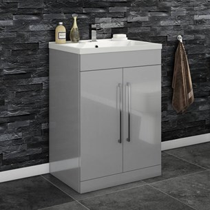 Aspire 600mm Floorstanding 2 Door Vanity Unit & Basin - Gloss Grey