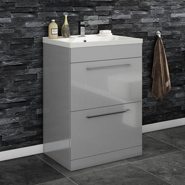 Aspire 600mm Floorstanding 2 Drawer Vanity Unit & Basin - Gloss Grey