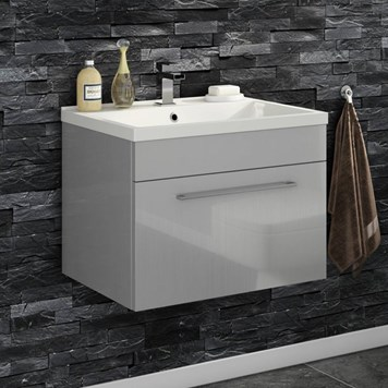 Aspire 600mm Wall Mounted 1 Drawer Vanity Unit & Basin - Gloss Grey