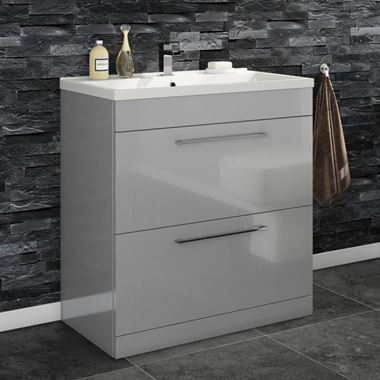 Aspire 800mm Floorstanding 2 Drawer Vanity Unit & Basin - Gloss Grey