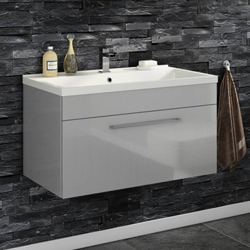Aspire 800mm Wall Mounted 1 Drawer Vanity Unit & Basin - Gloss Grey