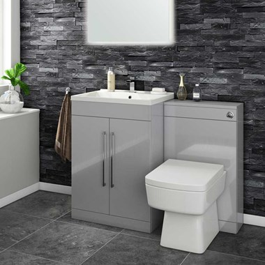 Aspire 600mm 2 Door Vanity Unit & Basin and Toilet Pack - Gloss Grey