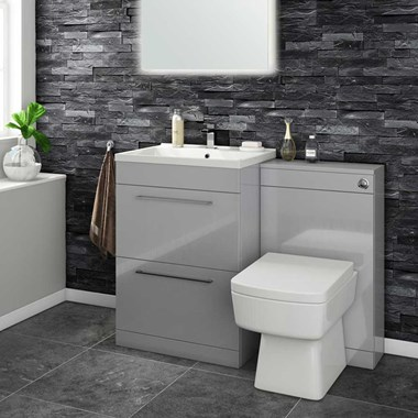 Aspire 600mm 2 Drawer Vanity Unit & Basin and Toilet Pack - Gloss Grey