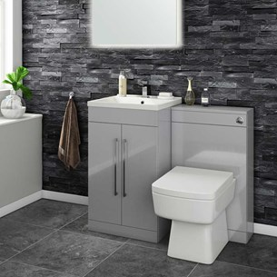 Aspire 500mm 2 Door Vanity Unit & Basin and Toilet Pack - Gloss Grey