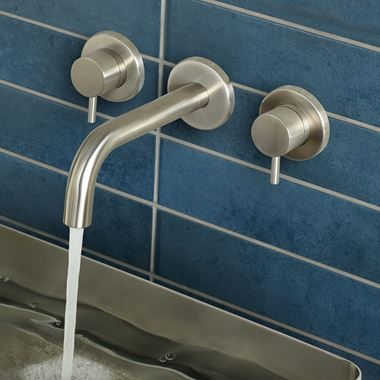 Inox Brushed Stainless Steel Wall Mounted Basin Mixer
