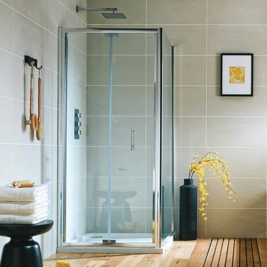 Harbour i6 Easy Clean 6mm Bi-Fold Shower Door & Optional Side Panel