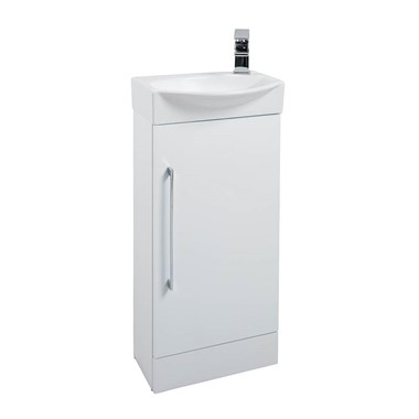 Alpine Cloakroom Floorstanding White Vanity Unit & Basin
