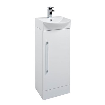 Alpine Cloakroom Floorstanding 350mm White Vanity Unit & Basin