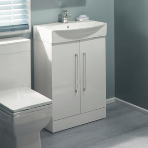 Alpine Floorstanding 2 Door White Vanity Unit & Basin