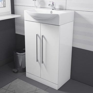 Vellamo Aspire Compact 500mm Floorstanding White Vanity Unit & Basin